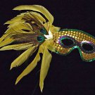 Masquerade Ball Halloween Wand Mask Yellow Peacock Mardi Gras Prom Party Costume