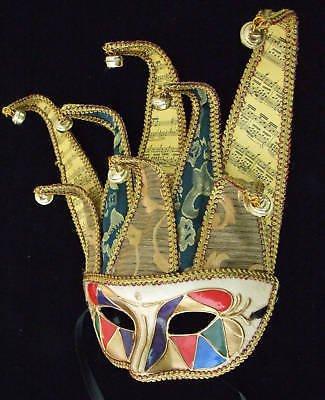 Jester Mask Premium Mardi Gras Mask HALLOWEEN GREEN