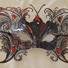 Large Red Butterfly Jewel Wings Venetian Mask Halloween Mardi Gras Masquerade