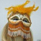 Venetian Mask Bead Veil Feather HALLOWEEN Goldenrod Mardi Gras Prom Costume