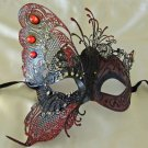 Butterfly Mask with Red Jewel Wing Venetian Mardi Gras Costume Party Prom