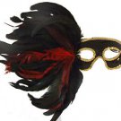 Feather Mask Black with Red & Black Mardi Gras Masquerade Ball Decor Party Prom