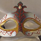 Venetian Eye Mask Samba Red & Gold with Pearl Prom Mardi Gras Masquerade Costume
