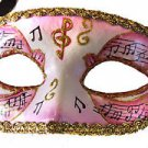 Venetian Eye Mask Pink Musical Score Costume Prom Party Mardi Gras Music