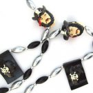 Pirate Head and Black Flag Mardi Gras Bead Necklace Cajun Carnival Gasparilla