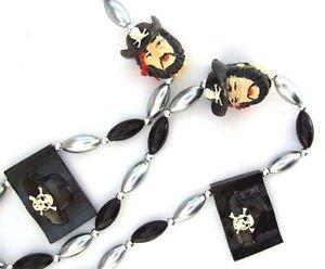 Pirate Head and Black Flag Mardi Gras Bead Necklace Cajun Carnival Gasparilla