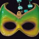 KREWE MASK Wicked Green Yellow Mardi Gras Party Beads