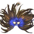 Feather Mask Flame Dark Blue Mardi Gras Masquerade Ball Decor Party Prom