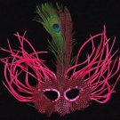 Feather Mask Carnival Hot Pink Mardi Gras Masquerade Ball Decor Party Prom