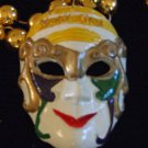 Mardi Gras Jester Mask Gold Eye Musical Orleans Beads