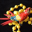 Bobble Head Colorful PARROT Mardi Gras Beads Moves Animated Fun Bobblehead