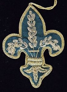 Zardozi Fleur de Lis or Crown Ornament YOUR CHOICE Mardi Gras New Orleans