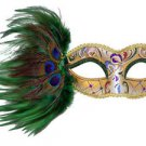 Venetian Eye Mask Jewel and Feathers Your Choice Colors Mardi Gras Halloween