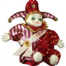 Porcelain Baby Clown Doll Mardi Gras Burgundy New Orleans