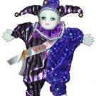 Porcelain Baby Clown Doll Mardi Gras Purple & Blue New Orleans Good Luck Doll