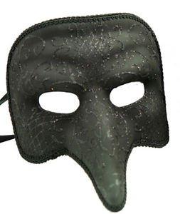 Nasone Venetian Mask Black Sparkle Your Choice Style Mardi Gras Halloween Party
