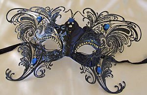 Large Blue Butterfly Jewel Wings Venetian Mask Halloween Mardi Gras Costume