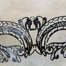 Black Metal Mask Rhinestones Laser Cut Halloween Mardi Gras Costume Prom Party
