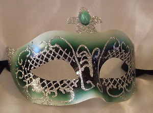 Venetian Mask Jewel Masquerade Green Jewel Costume Mardi Gras Costume Party