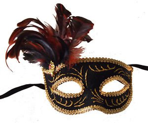 Velvet Gold Mask Mardi Gras Party Feathers and Jewel Masquerade New Orleans Prom