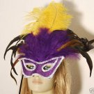 Glamour Girl Masquerade Ball Wand Feather Party Mask Mardi Gras Costume Party