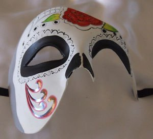 Day of the Dead Mask Red Flower Half Face Halloween Mardi Gras Costume Party