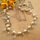 Swarovski Crystal Necklace with White Pearls and Gold - N144