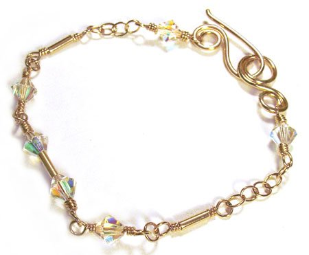 Swarovski Crystal Bracelet with Gold - B161