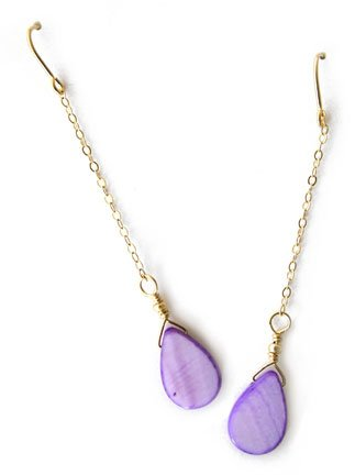 Gold and Lilac Mother of Pearl Earrings - E236