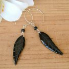 Silver and Black Agate Feather Earrings - E286