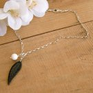 Black and White Necklace with Leaf Pendant - N279