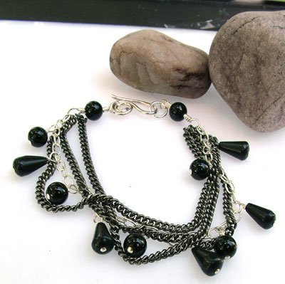 Black and Silver Three Strand Bracelet - B211