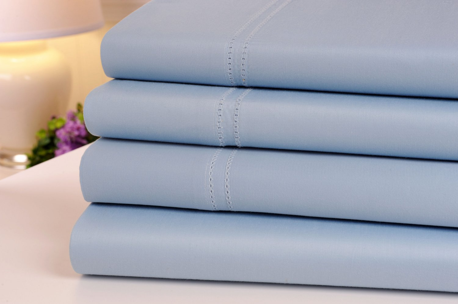 Oxford Collection 1000 Thread Count Hemstitch Egyptian Cotton Queen Sheet Set, Blue