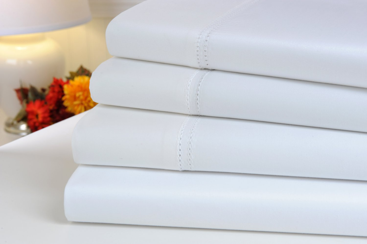 Oxford Collection 1000 Thread Count Hemstitch Egyptian Cotton Queen Sheet Set, White
