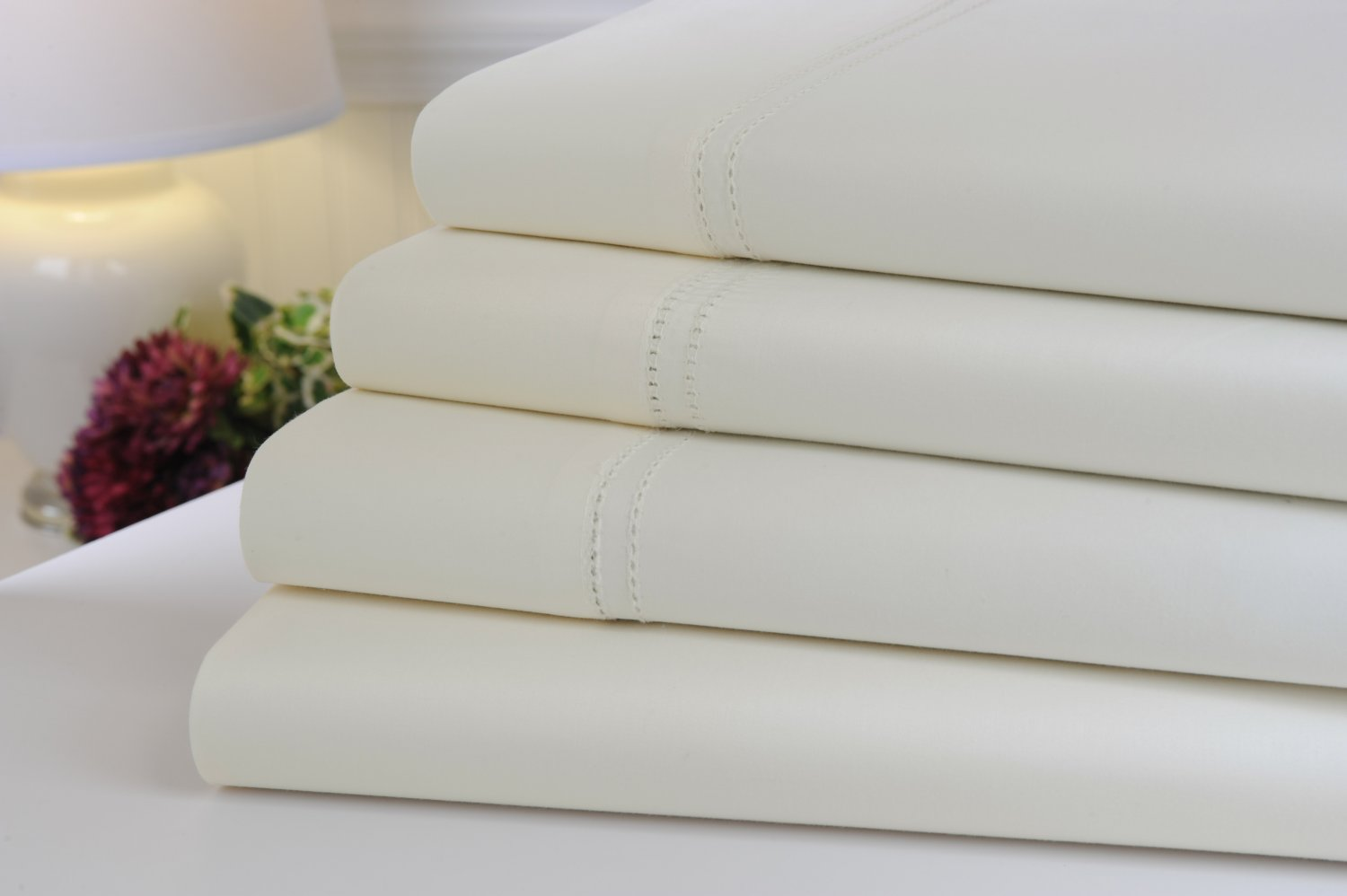 Oxford Collection 1000 Thread Count Hemstitch Egyptian Cotton Queen Sheet Set, Ivory
