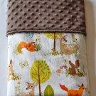 Handmade Woodland Fox Racoon Rabbit Bunny Deer Minky Baby Blanket