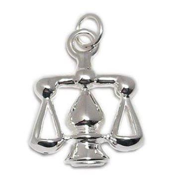 Impressive Sterling Silver Scales Libra Zodiac Pendant