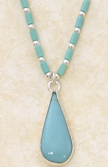 Sterling Silver Turquoise Teardrop Pendant Necklace