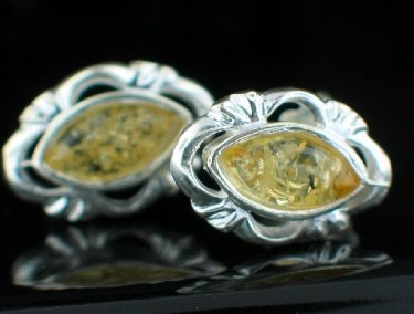 Sterling Silver Lemon Yellow Baltic Amber Post Earrings