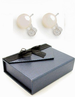 Pretty Sterling Silver Fresh Water White Pearl Post Earrings with a Cubic Zirconia stone