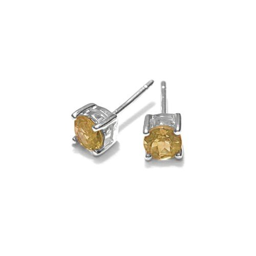 Sterling Silver round Citrine stud earrings