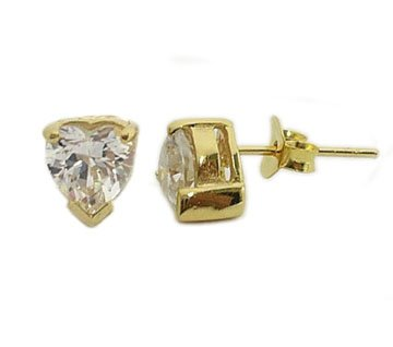 Beautiful 18K Gold CZ Cubic Zirconia Heart Earrings