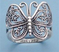 Lovely Sterling Silver Butterfly Filigree Ring size 6 1/2