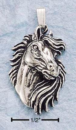 Fabulous Sterling Silver Horse Head Pendant