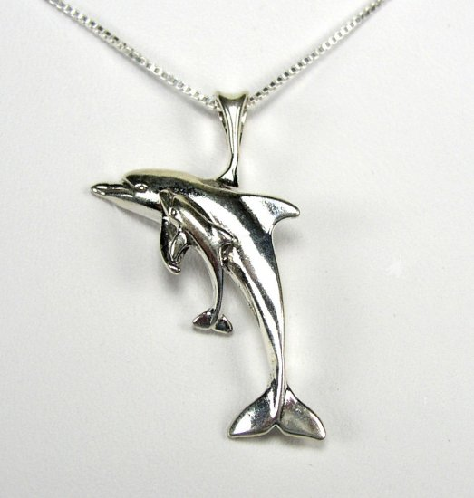 Cute Sterling Silver Mother Dolphin and Calf Pendant and chain necklace