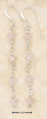 Sterling silver long dangle Rose Quartz earrings