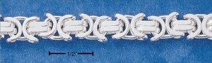 Sterling Silver Flat Byzantine 6mm Chain 7 inch bracelet