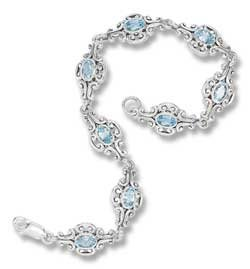 Sterling Silver 7 inch Bracelet with Blue Topaz Stones
