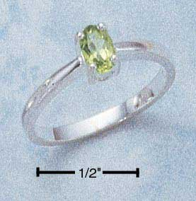 Sterling Silver ring with genuine Peridot oval stone size 8