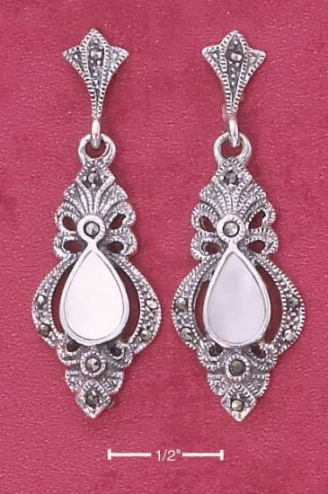 Fancy Victorian style Sterling Silver Mother of Pearl Earrings with Marcasite stones